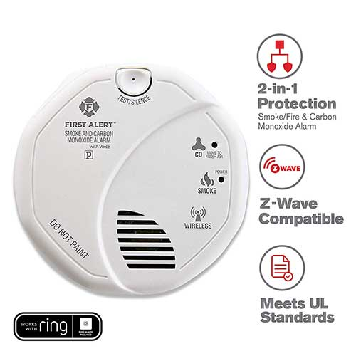 Best Smoke Detectors for Kitchen 4. First Alert 2-in-1 Z-Wave Wireless Smoke Detector & Carbon Monoxide Alarm, Battery Operated