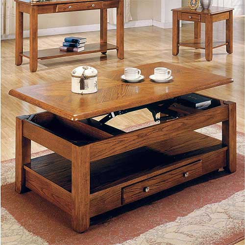 2. Lift Top Coffee Table Oak with Storage Drawers and Bottom Shelf