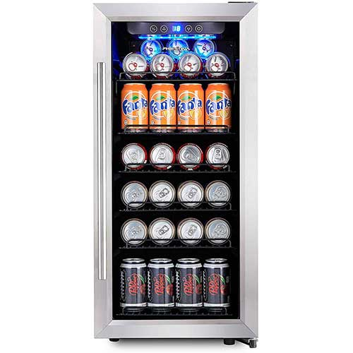 10. Phiestina PH-CBR100 106 Can Compressor Beverage Cooler Air-Cooled Refrigerator Stainless Steel & Glass Door with Handle