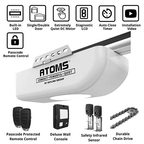 10. ATOMS AT-1722 By Skylink 3/4HPF Garage Door Opener with Extremely Quiet DC Motor, Chain Drive