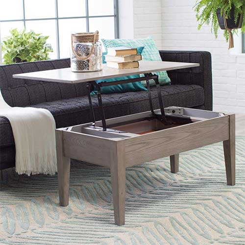10. Coffee Tables (Gray Lift Top Rectangle Wood Cocktail Living Room End Table Side Modern Furniture