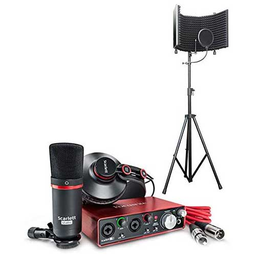 1. Focusrite Scarlett 2i2 USB Audio Recording Interface Studio Pack