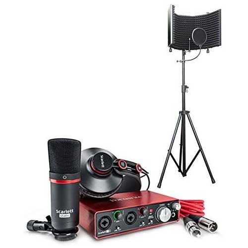 1. Focusrite Scarlett 2i2 USB Audio Recording Interface Studio Pack