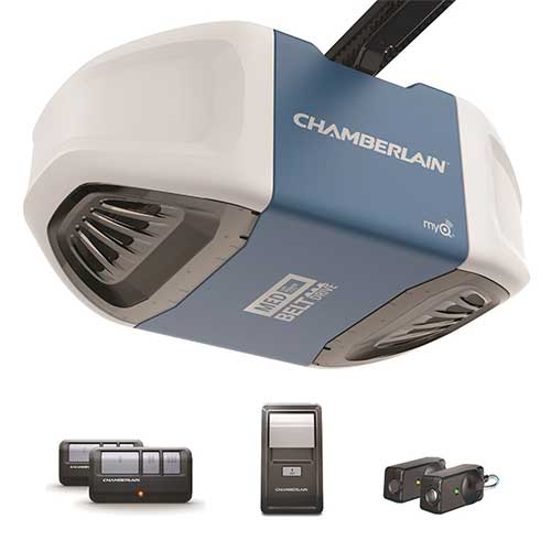 1. Chamberlain Group B503 Ultra-Quiet & Strong Belt Drive Garage Door Opener with MED Lifting Power, Blue