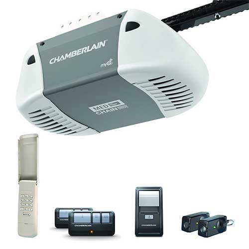 9. Chamberlain Group C410 Durable Chain Drive Garage Door Opener with MED Lifting Power, Pewter
