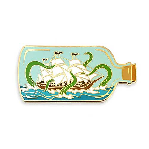 5. Pinsanity Ship ina Bottle Attacked by Sea Monster Enamel Lapel Pin