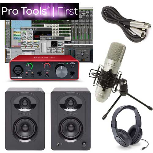 2. Focusrite Solo Home Recording Studio Bundle Speakers Mic Pro Tools First & More