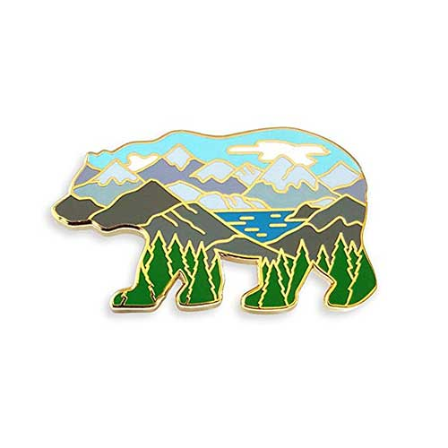 7. Pinsanity Bear Mountain Landscape Enamel Lapel Pin
