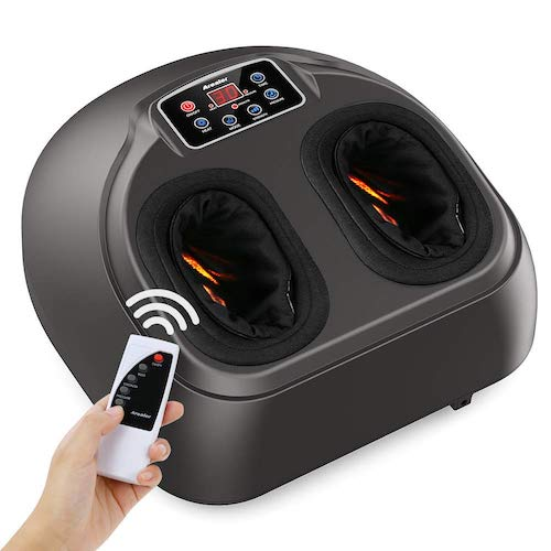 6. Arealer Foot Massager Machine with Heat, Shiatsu Foot Massagers with Remote Control & LCD Display, 5 Mode with Air Compression, Kneading Foot Massage for Blood Circulation & Plantar Fasciitis