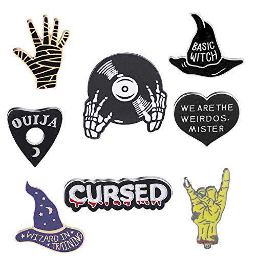 10. JLJ Enamel Pin Set Punk Cute Brooches for Party Vampire Skull Witch