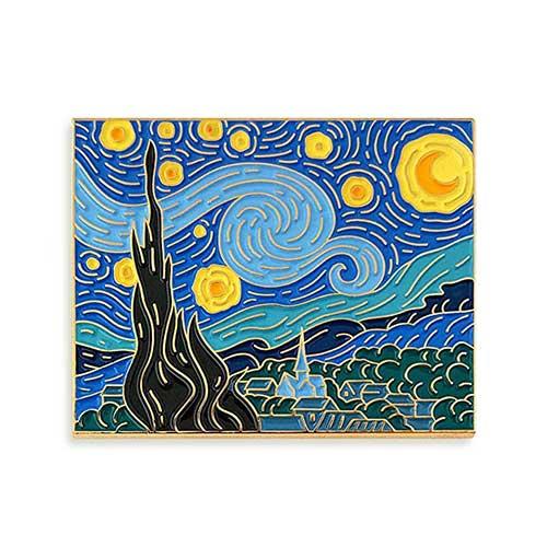 3. Pinsanity Van Gogh Starry Night Painting Enamel Lapel Pin