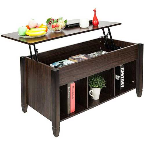 9. Casart Coffee Table Lift Top Wood Home Living Room Modern Lift Top Storage Coffee Table w/Hidden Compartment Lift Tabletop Furniture