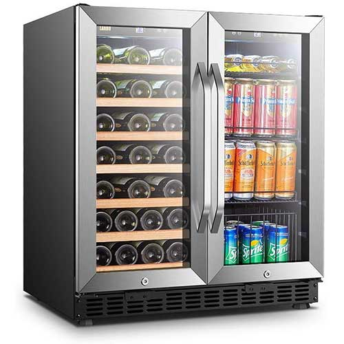5. Lanbo 30 Inch Built-in Dual Zone Wine and Beverage Cooler