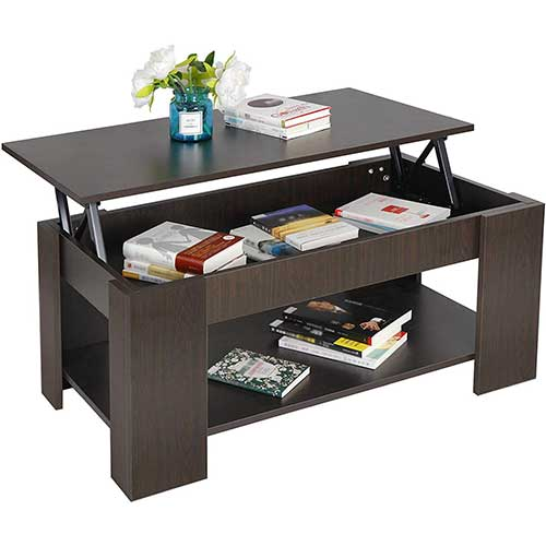 8. ZENY Coffee Table with Lift Top Hidden Compartment and Storage Shelves Modern Furniture