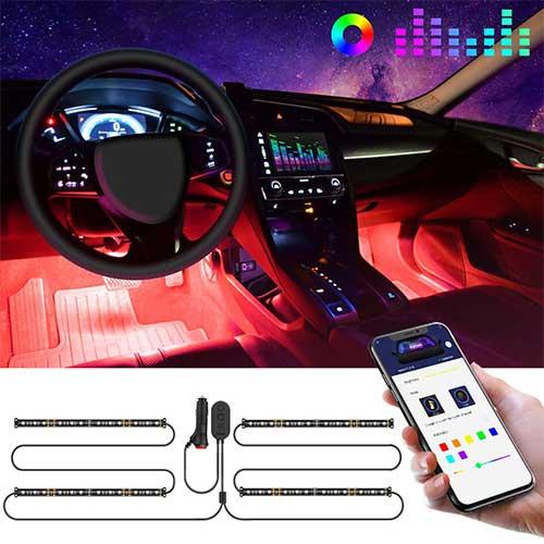2. Interior Car Lights, Govee Car LED Strip Light Upgrade Two-Line Design Waterproof 4pcs 48 LED APP Controller Lighting Kits