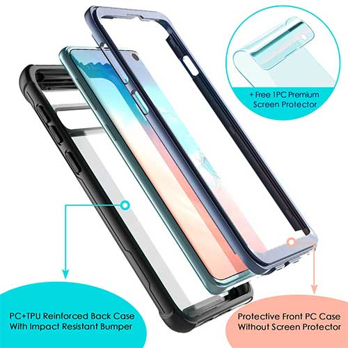 6. FITFORT Full Body Rugged Heavy Duty Clear Bumper Case