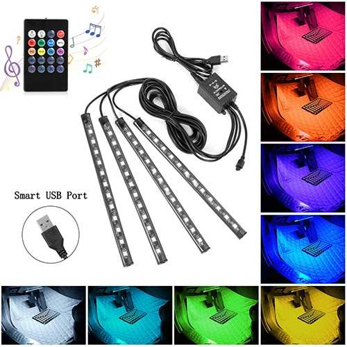 4. Car LED Strip Lights, 4pcs 48 USB LED Interior Lights, MultiColor Music Car Strip Light Under Dash Lighting Kit