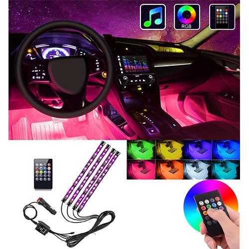 5. Interior Car Lights, Atmosphere Lighting Car Multicolor Waterproof Kit
