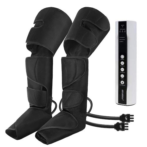 3. CINCOM Leg Air Compression Massager for Foot Calf Thigh Upgrade Leg Wraps with Portable Handheld Controller and 2 Extensions- 3 Modes & 3 Intensities (Black)