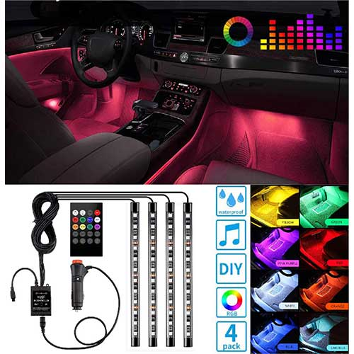 7. Led Interior Car Lights, Controller Led Lights for Cars, Waterproof Multicolor Music Underglow Lighting Kits