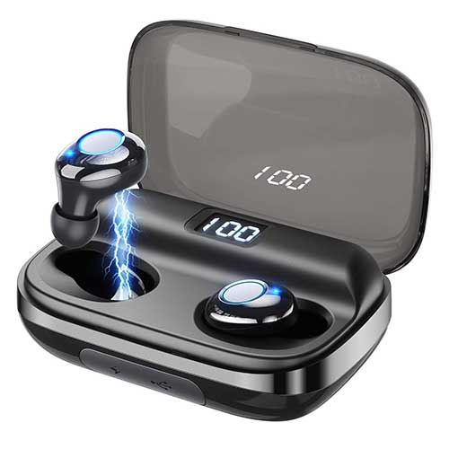 4. Wireless Earbuds GUSGU Bluetooth 5.0 Earbuds Noise Cancelling Waterproof Wireless Headphones 145H Cycle Playtime