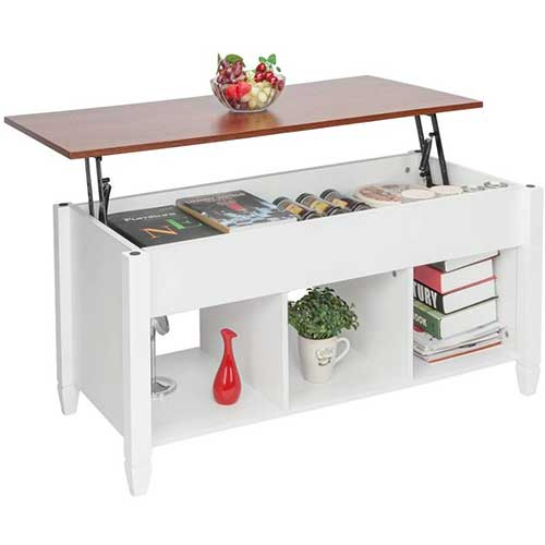 7. HomVent Lift-up Top Coffee Table, Wood& Metal End Table