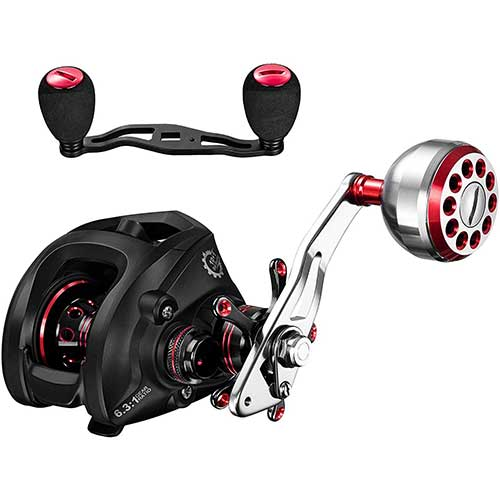6. DONVI Baitcasting Reels with Dual Brake System - 6.3:1 Baitcasters Fishing Reel Saltwater or Freshwater