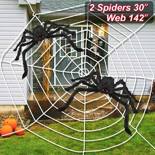 7. UDILO 3PCS Halloween Spider Web Halloween Spider Decorations