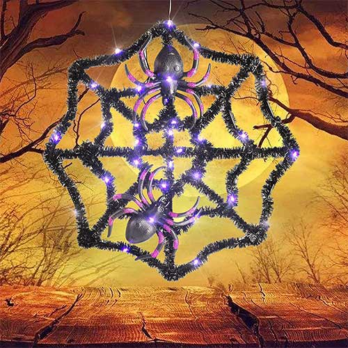 6. Twinkle Star Halloween Spider Web with 31 LED Waterproof Purple Lights and 2 Black Spider