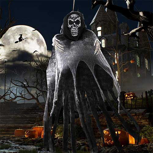5. OurWarm 5.5ft Halloween Ghost Hanging Decorations, Large Hanging Grim Reaper
