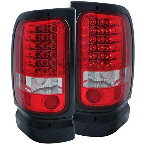 5. SPPC Red/Clear LED Tail Lights Assembly Set For Dodge Ram