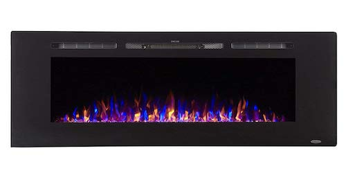 1. Touchstone 80011 - Sideline Electric Fireplace - 60 Inch Wide - in Wall Recessed - 5 Flame Settings - Realistic 3 Color Flame - 1500/750 Watt Heater - (Black) - Log & Crystal Hearth Options