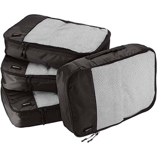6. AmazonBasics 4 Piece Packing Travel Organizer Cubes Set
