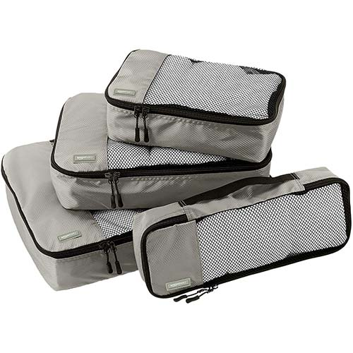 2. AmazonBasics 4 Piece Packing Travel Organizer Cubes Set