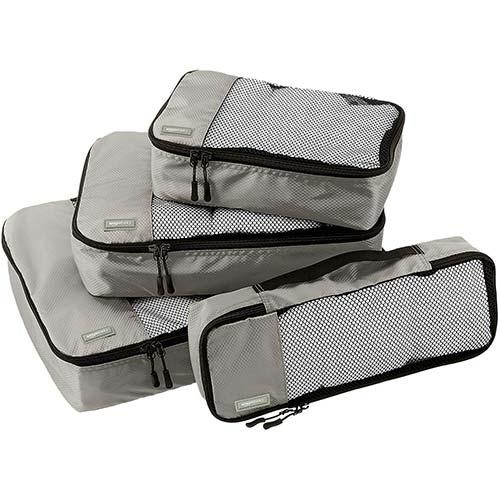 2. AmazonBasics 4 Piece Packing Travel Organizer Cubes Set