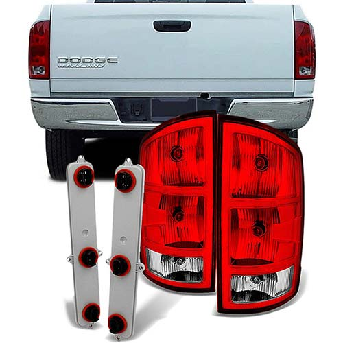 9. For Dodge Ram 1500 | 2500 |3500 Pickup Truck Red Clear Tail Lights Replacement