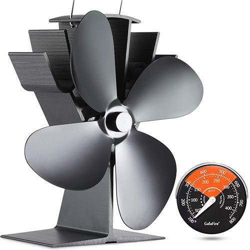 1. GALAFIRE 50°C Start Silent Heat Powered Wood Stove Fan