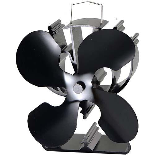 2. VODA 4-Blade Heat Powered Stove Fan