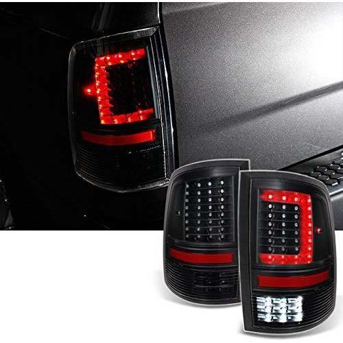 6. For 2009-2018 DODGE RAM 1500 | 10-18 2500 | 3500 C-Shaped Black LED Tail Lights