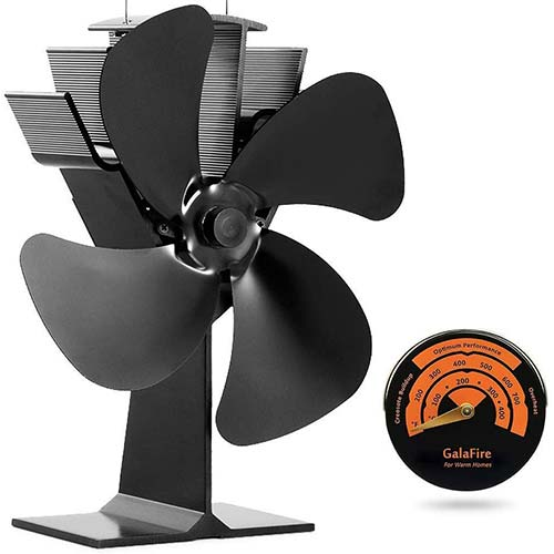 8. GALAFIRE [2 Years Warranty] Eco Heat Powered Wood Stove Fan