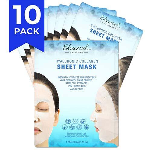 8. Ebanel 10 Pack Korean Collagen Face Mask Sheet