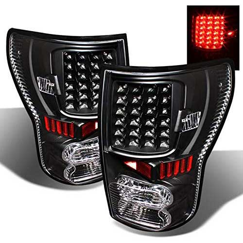 4. For 07-13 Toyota Tundra Pickup Truck Black Bezel Rear LED Tail Lights Brake Lamps Replacement Pair
