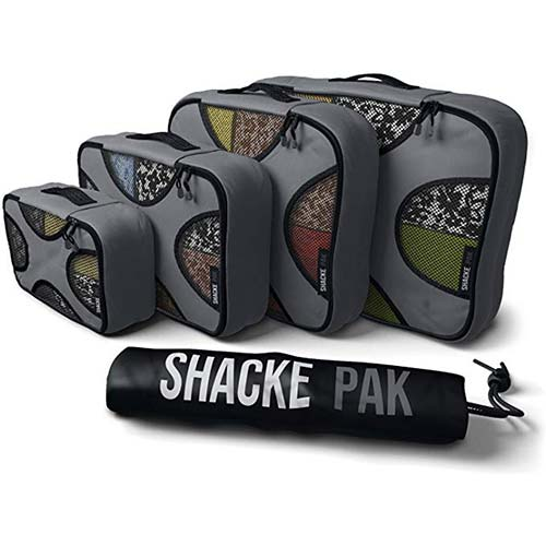 4. Shacke Pak - 4 Set Packing Cubes - Travel Organizers with Laundry Bag