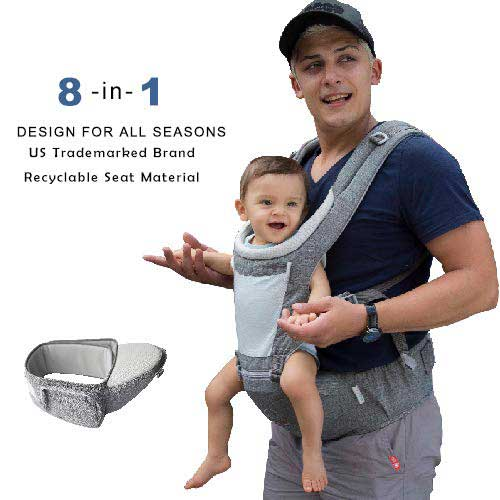 6. Dada Hip seat baby carrier, neutral gender grey, backpack, all season mesh light