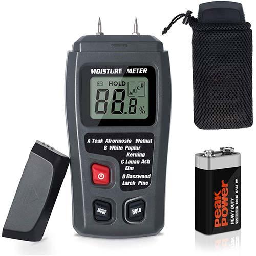 9. Moisture Meter TyhoTech Wood Moisture Detector LCD Damp Moisture Tester with 2 Test Probe Pins