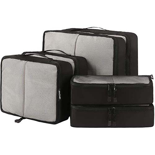3. Bagail 6 Set Packing Cubes, 3 Various Sizes Travel Luggage Packing Organizers