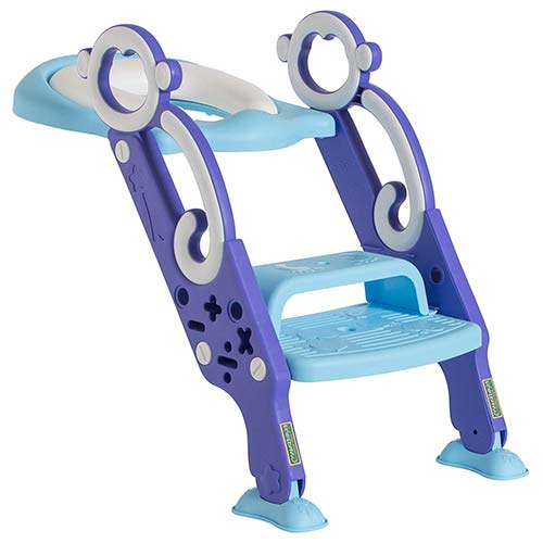 6. Toddler Toilet Training Seat with Non-Slip Ladder: Foldable Padded Potty Trainer