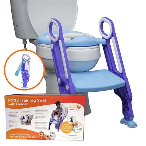 7. Potty Training Seat with Ladder - Potty Step Stool for Toddlers Fits Most Toilets