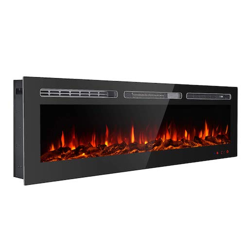 8. GMHome 60 Inches Recessed Electric Fireplace
