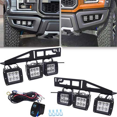 2. 6x 3'' LED Fog light Cubes +Hidden Bumper Mounting Bracket w/Rocker Switch Wiring Kit for Triple LED Fog Lights Fit 2017-2018 Ford Raptor